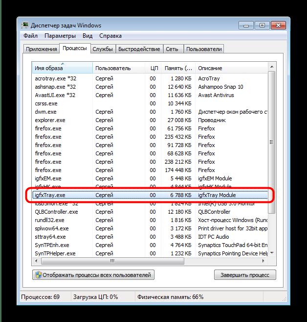 Запущенный процесс igfxtray.exe в Диспетчер задач Windows