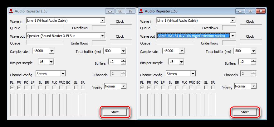 Запуск трансляции звука на разные устройства в программе Audio Repeater