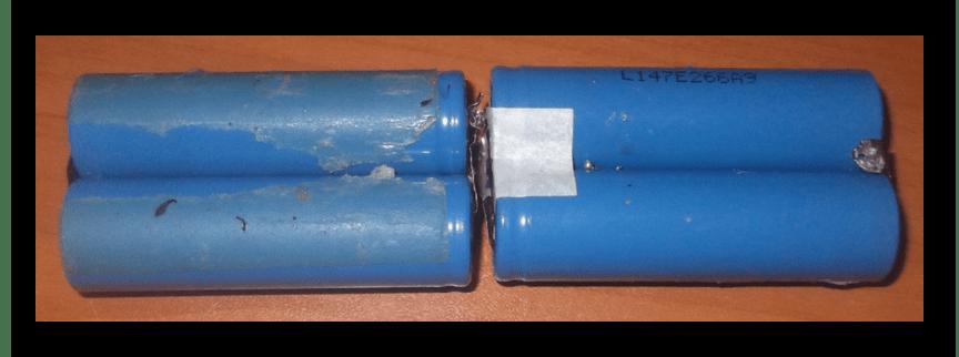 Две пары аккумуляторов от батареи ноутбука