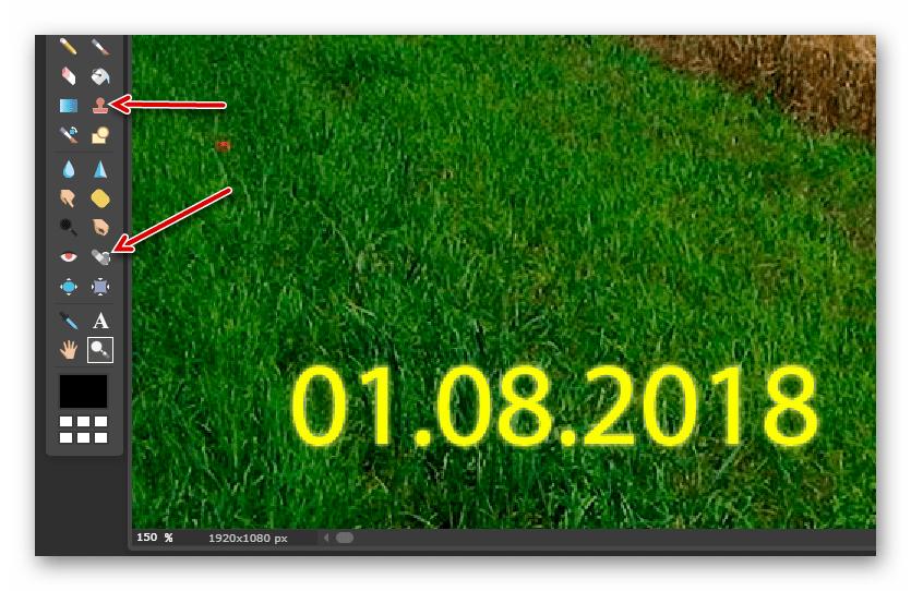 Инструменты для удаления надписи в онлайн-сервисе Pixlr Editor