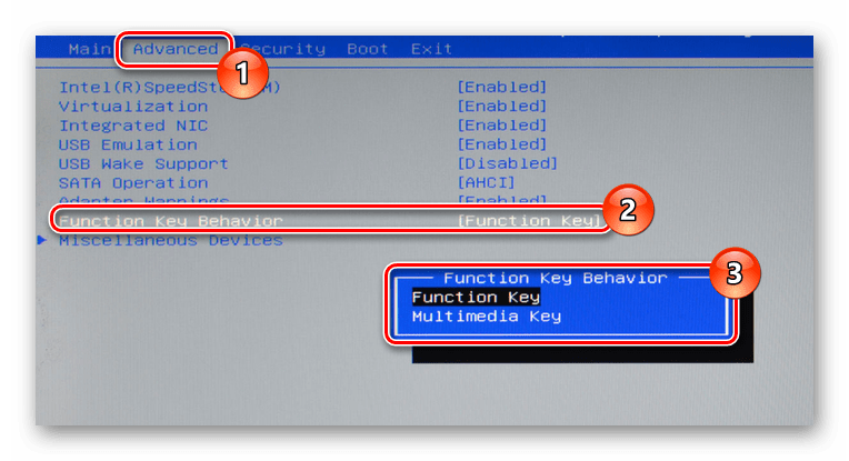 Изменение назначения кнопки Fn в BIOS