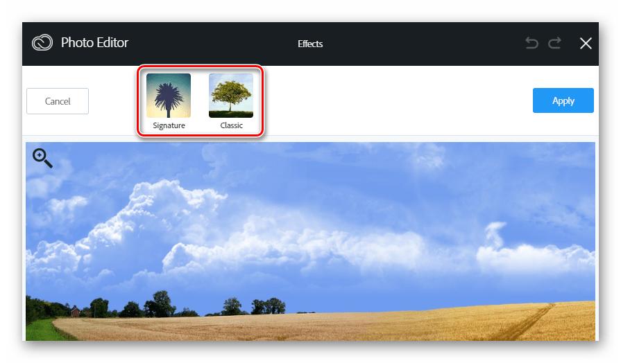 Категории фильтров в веб-сервиса Aviary