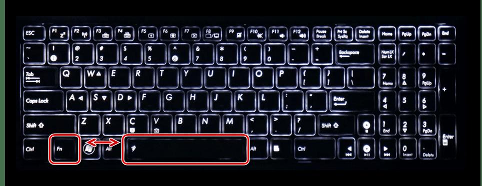 Клавиши Fn и Space на клавиатуре ноутбука ASUS