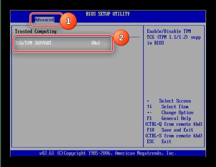 Отключение TPM в AMI BIOS