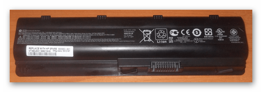Пример литий-ионного аккумулятора от ноутбука HP
