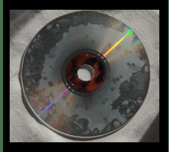 Пример сильно поврежденного оптического диска