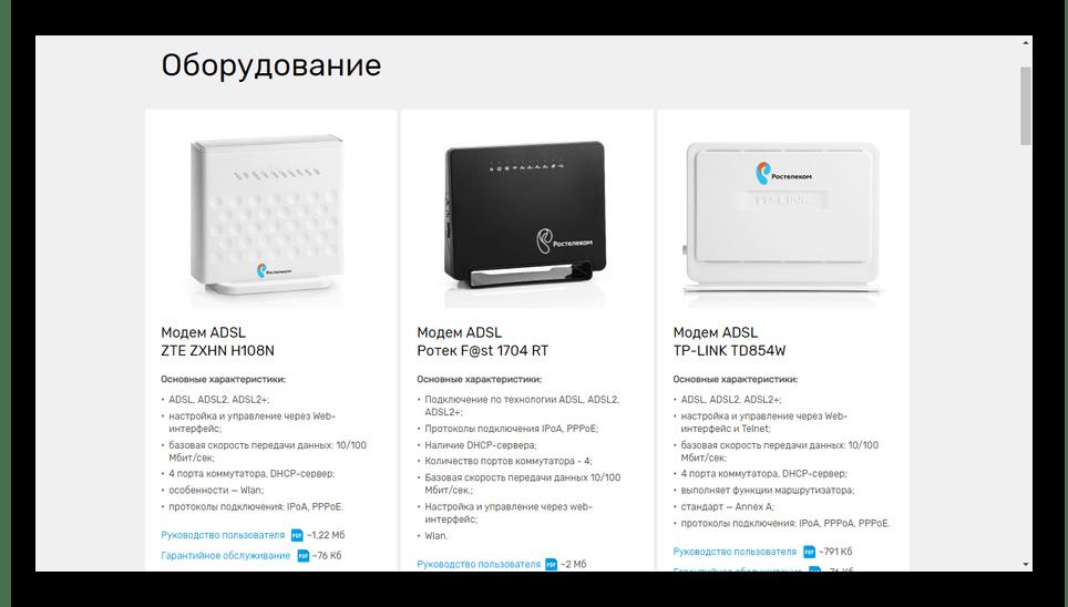 Просмотр списка оборудования на сайте Ростелеком
