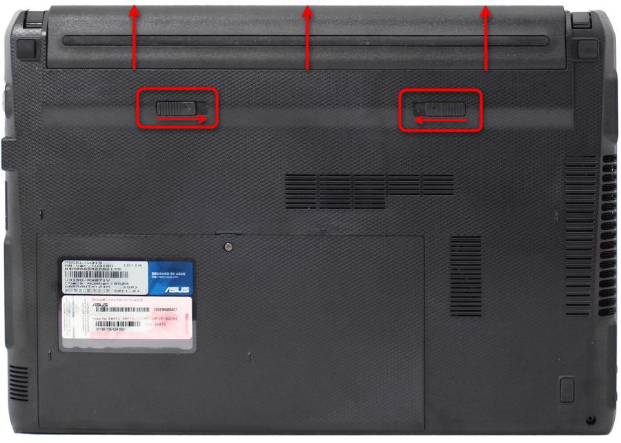 Процесс снятия аккумулятора с ноутбука