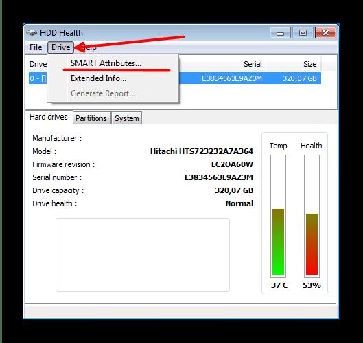 Проверка состояния SMART винчестера в HDD Health