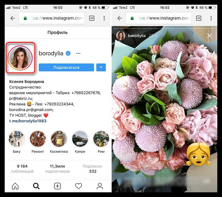 Создание скриншота Истории в веб-версии Instagram