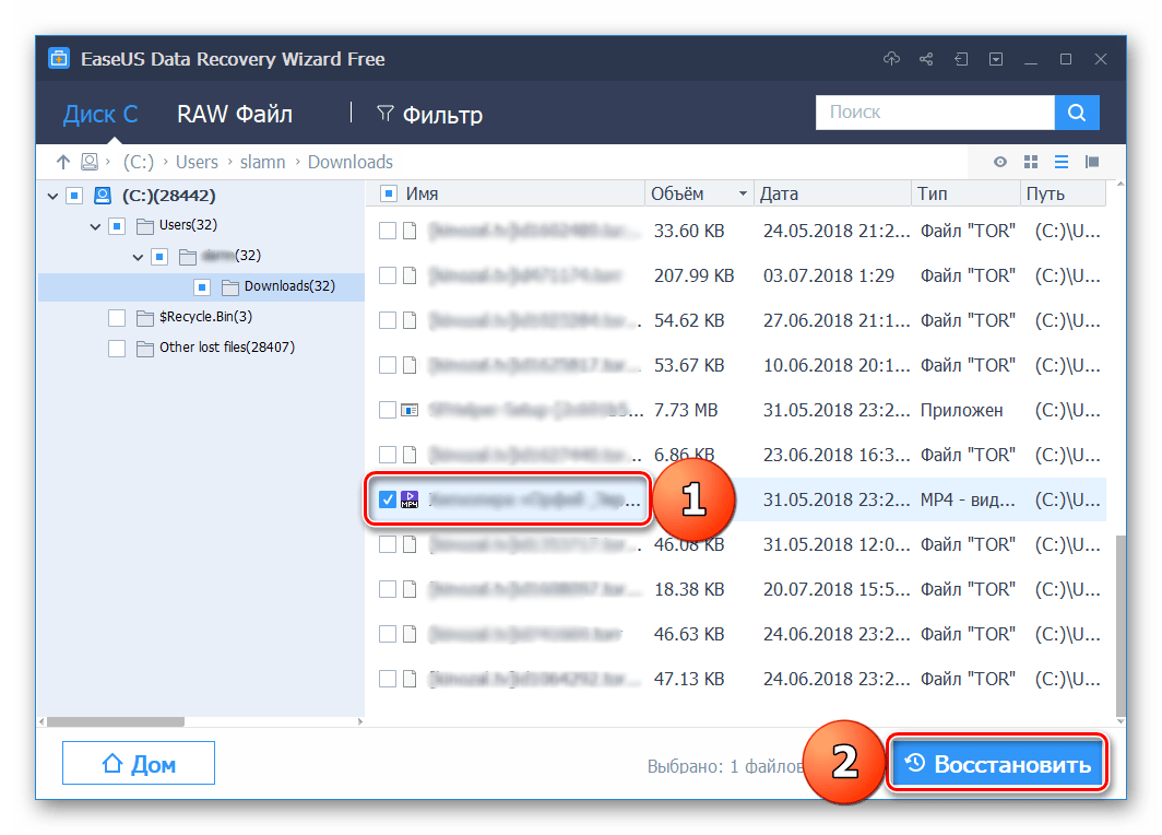 Восстановление выбранных файлов в программе EaseUS Data Recovery Wizard