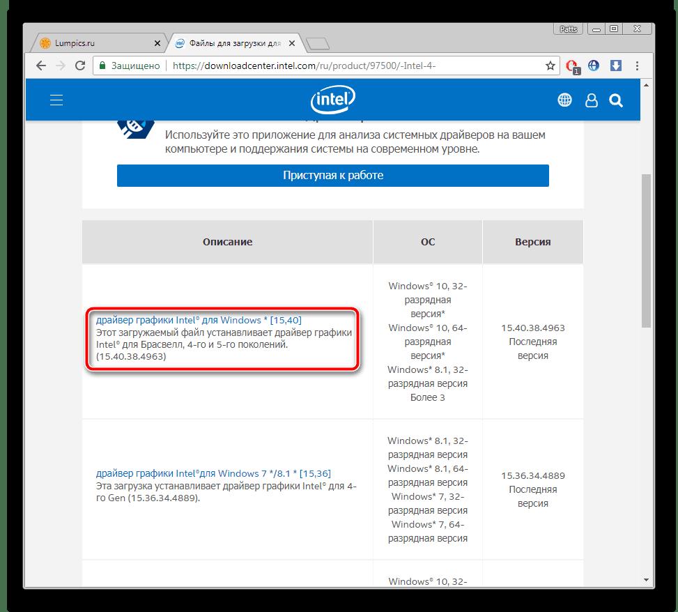 Выбор подходящего драйвера для Intel HD Graphics 4600