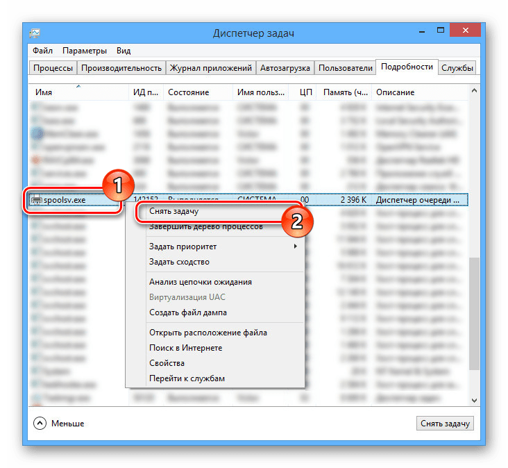 Выключение процесса spoolsv.exe в диспетчере задач