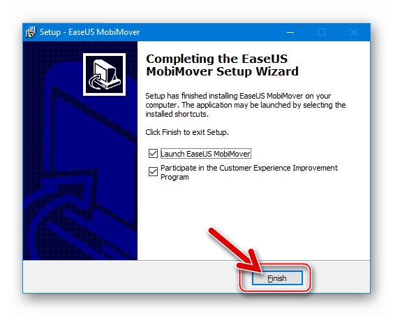 EaseUS MobiMover Free финишное окно установщика программы