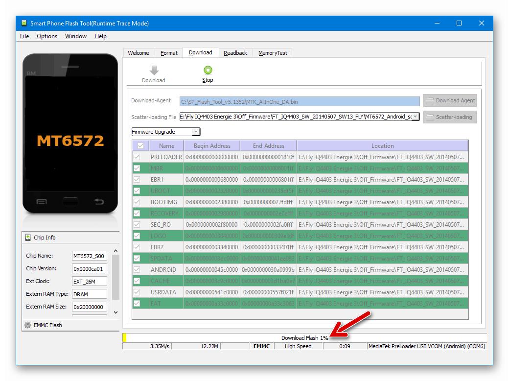 Fly IQ4403 Energie 3 SP Flash Tool процесс прошивки через программу