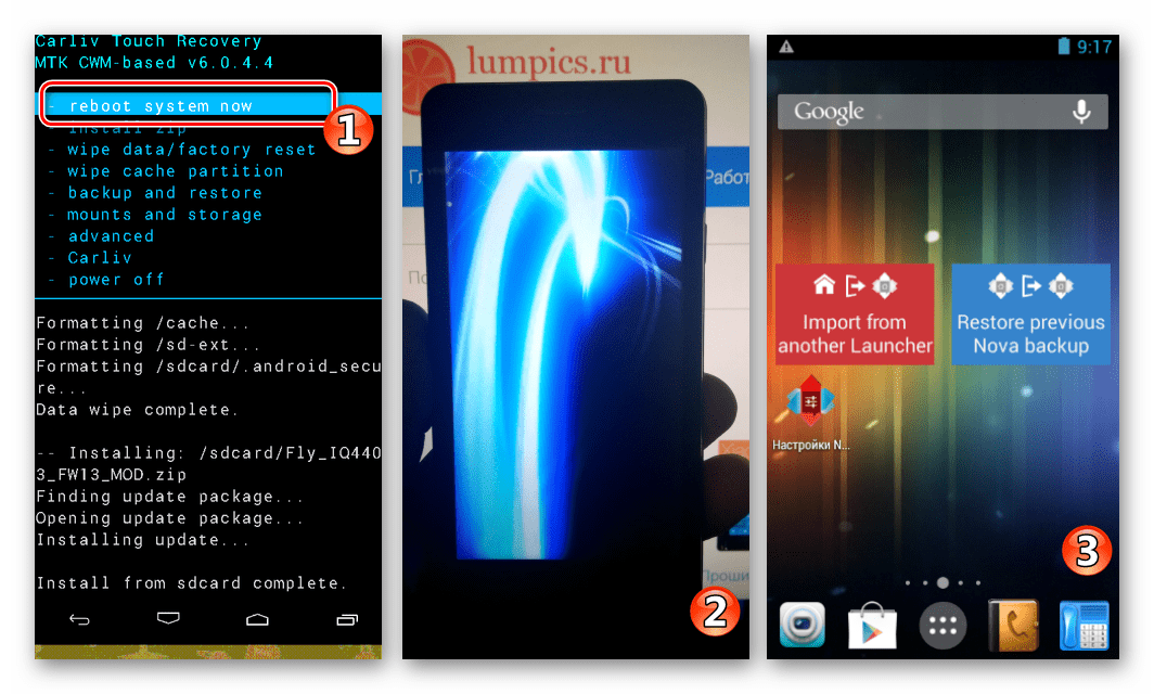 Fly IQ4403 Energie 3 перезагрузка в Андроид, установленный через CWM Recovery