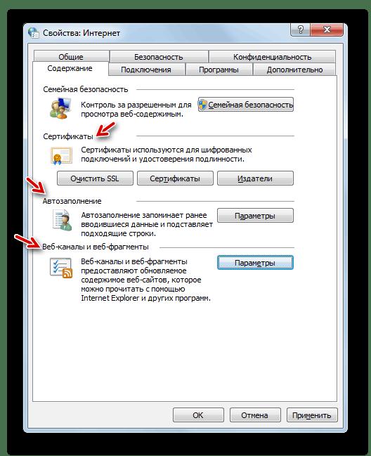 Настройка параметров во вкладке Содержание в Окне свойств обозревателя в Windows 7