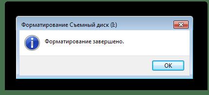 Окончание форматирования карты памяти в Windows 7