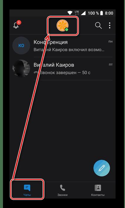 Открыть раздел сведений о профиле пользователя в мобильном приложении Skype