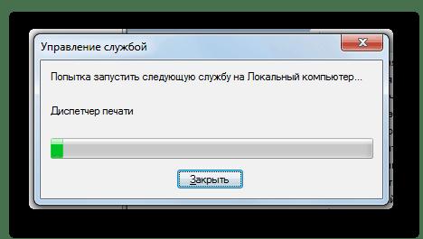 Перезапуск службы Диспетчер печати в Диспетчере служб в Windows 7