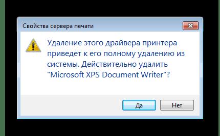 Подтверждение удаления драйвера принтера Windows 7