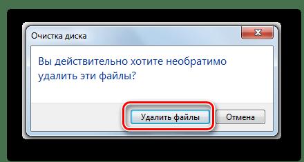 Подтверждение удаления файлов в диалоговом окне системной утилиты для очистки дисков в Windows 7