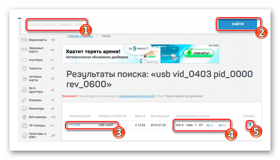 Поиск драйвера по ID для FT232R USB UART