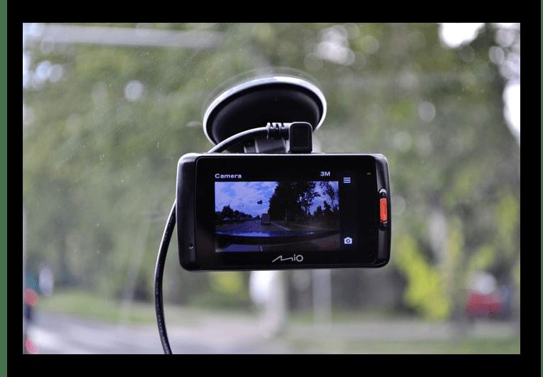 Пример включенного видеорегистратора MIO