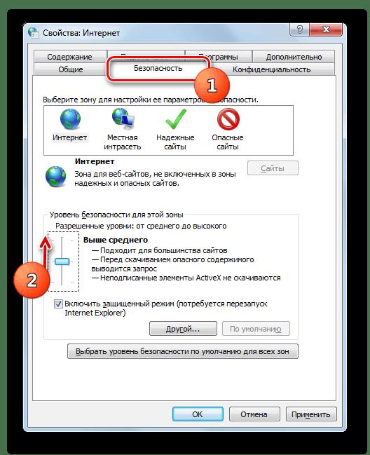 Регулировка уровня безопасности в Окне свойств обозревателя в Windows 7