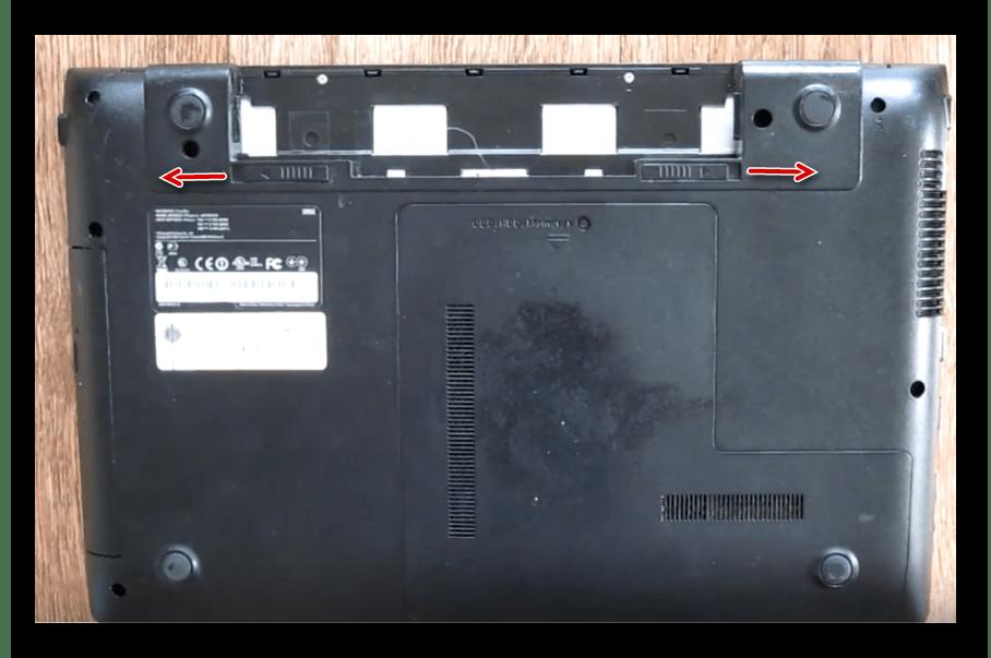 Снятие батареи ноутбука Samsung