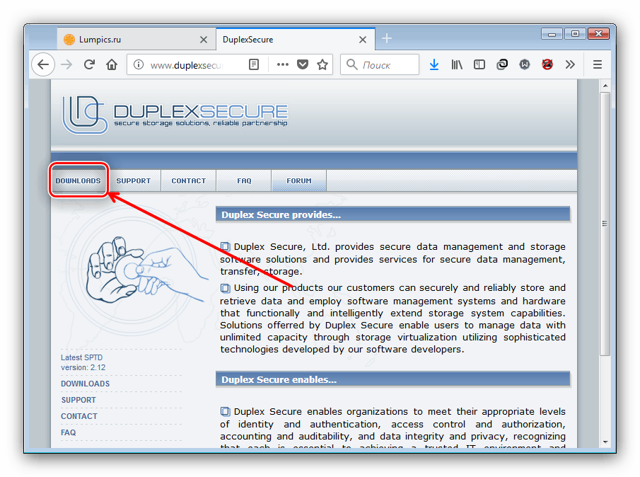 Страница загрузки драйверов SCSI Pass Through Direct на сайте разработчиков