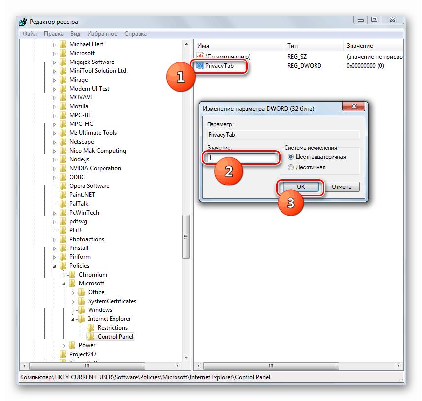 Свойства параметра PrivacyTab в Редакторе реестра в Windows 7