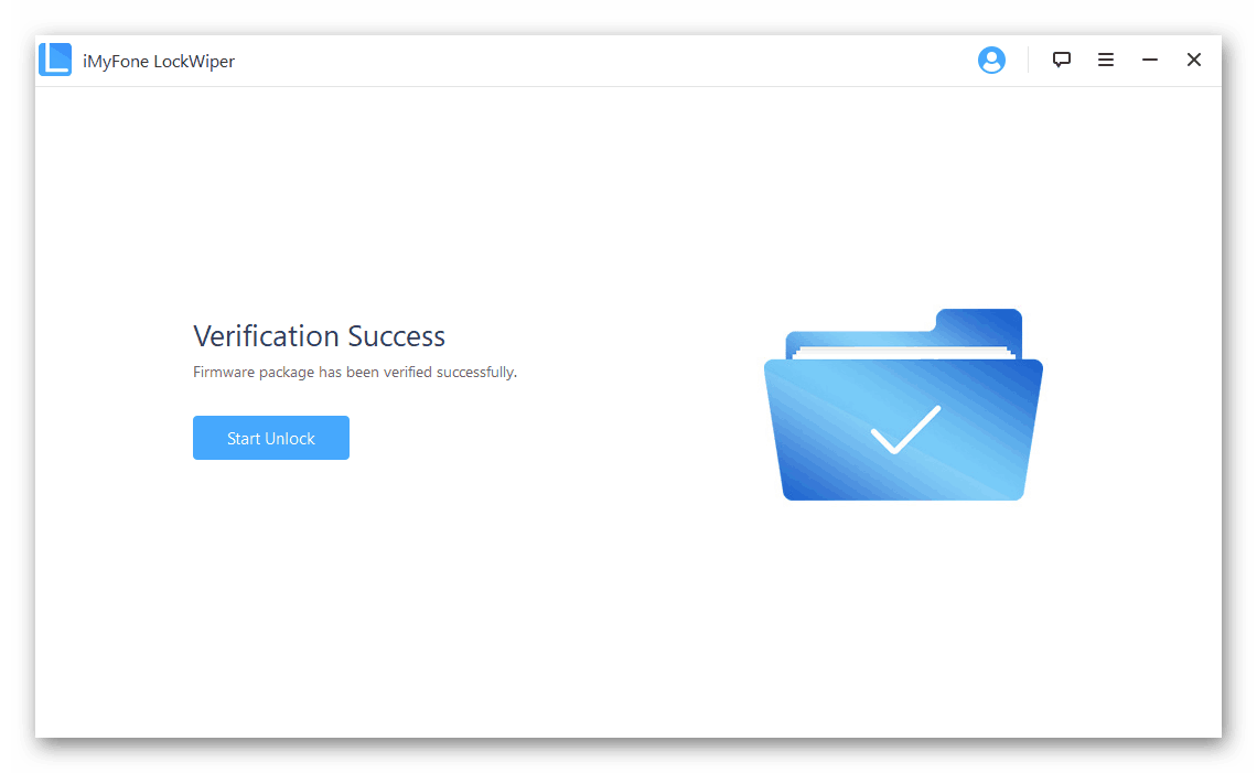 Успешное снятие блокировки с устройства в программе iMyFone LockWiper