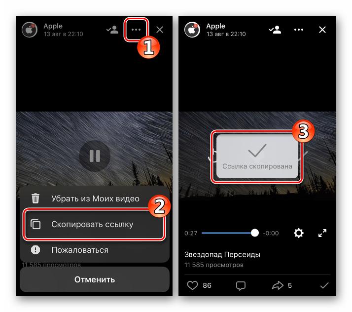 ВКонтакте для iOS копирование ссылки на видео для загрузки впоследствии