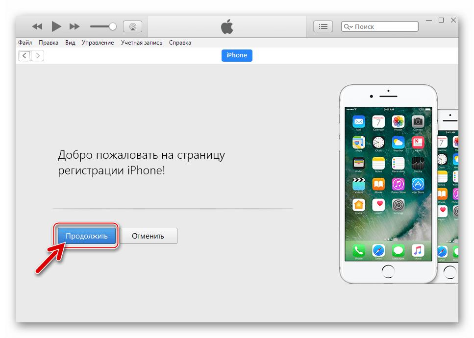 ВКонтакте для iPhone первое подключение смартфона к iTunes 12.6.3 - кнопка Продолжить