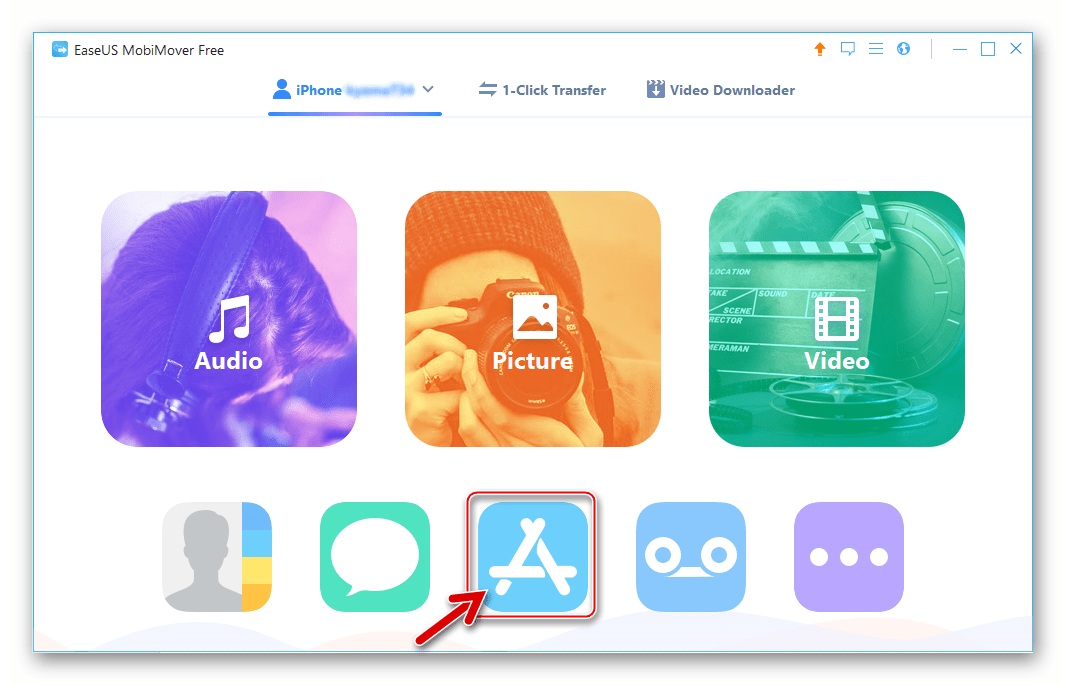 ВКонтакте для iPhone раздел App в EaseUS MobiMover Free для переноса IPA-файла в девайс