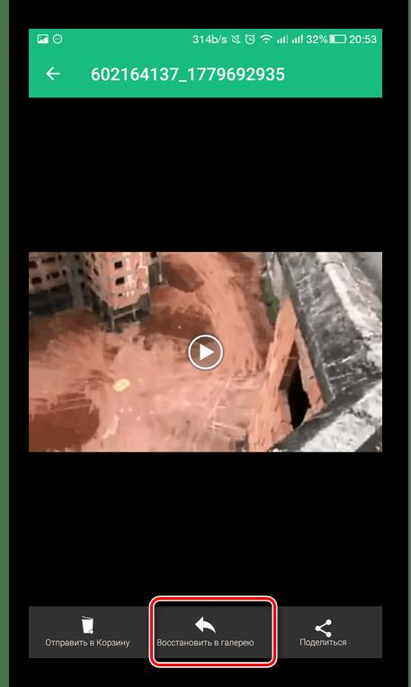 Восстановление видео в Dumpster