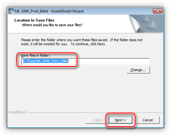 Выбор места для распаковки драйвера для принтера Samsung ML 1640