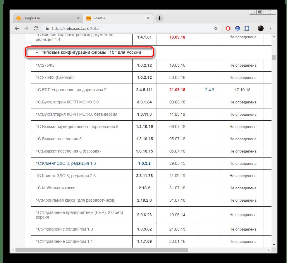 Выбор типовой конфигурации на сайте ИТС 1С