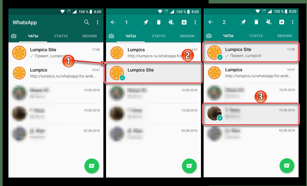 Выделение чатов, которые требуется удалить в мессенджере ВатсАп для Андроид