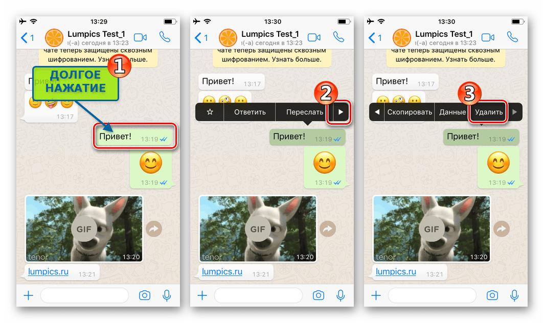 WhatsApp для iPhone меню действий для сообщения - пункт Удалить
