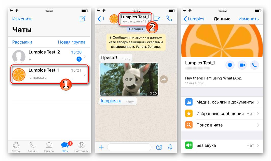 WhatsApp для iPhone очистка чата от сообщений - переход к данным участника мессенджера