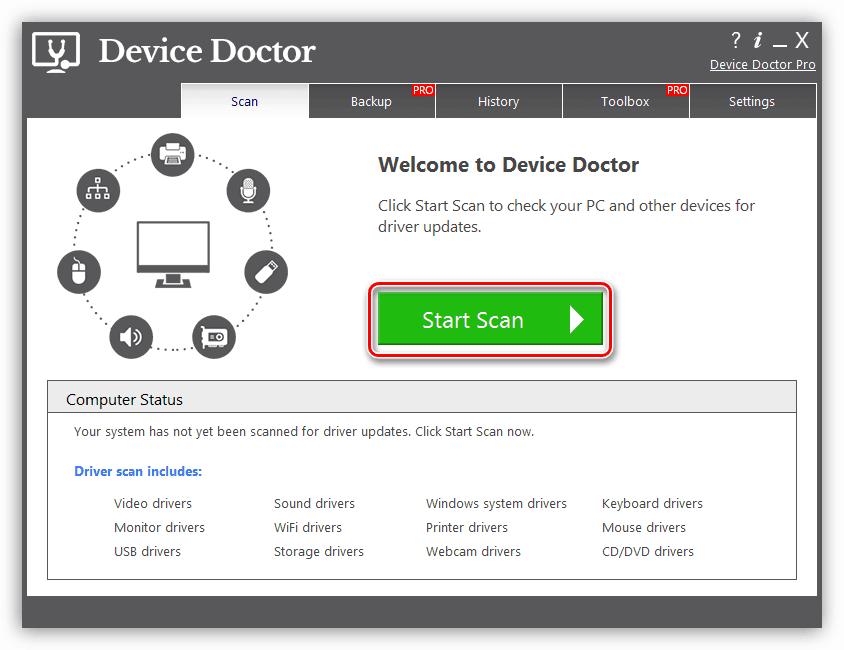 Запуск сканирования системы для поиска драйвера для принтера HP Deskjet 1510 в программе Device Doctor