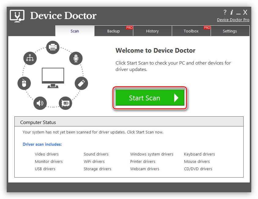 Запуск сканирования системы для поиска драйвера для сканера CanoScan LiDE 100 в программе Device Doctor