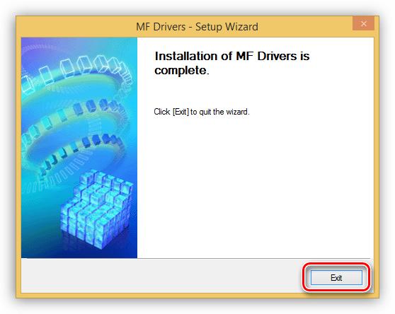 Завершение установки драйвера для принтера Canon MF3110 в Windows 8