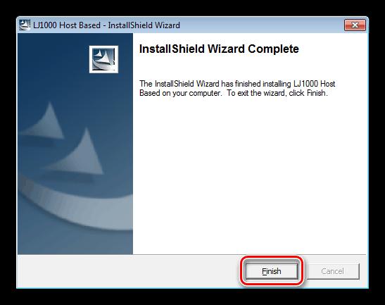 Завершение установки драйвера для принтера HP LaserJet 1000 на официальном сайте производителя