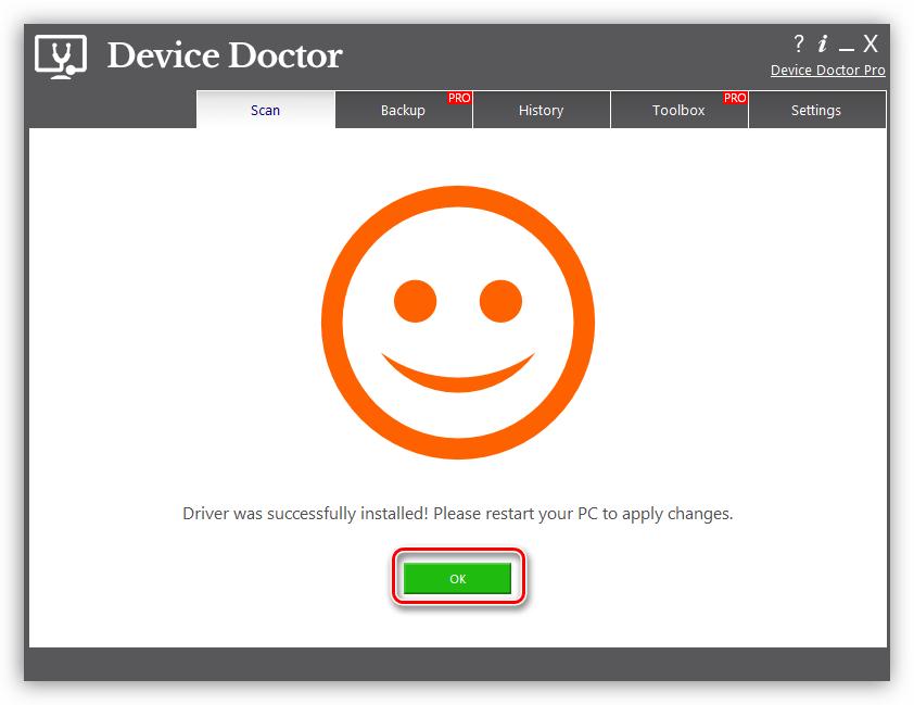 Завершение установки драйвера для сканера CanoScan LiDE 100 в программе Device Doctor