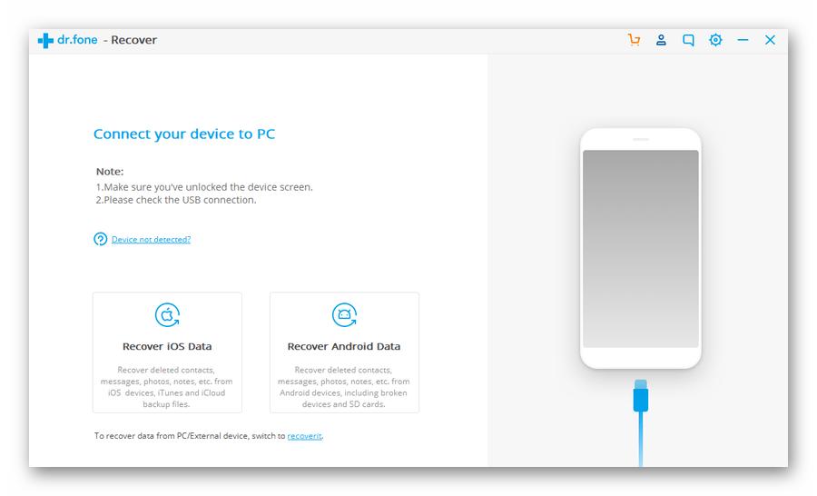 Диалог подключения смартфона к компьютеру в Wondershare Dr.Fone Android Toolkit