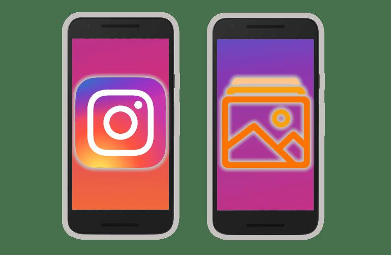 Добавление фотографий в приложении Instargam для Android