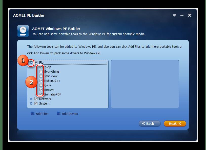 Добавление компонентов в сборку в окне программы AOMEI PE Builder в Windows 7